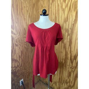 Duo Maternity Short Sleeve T-shirt Red Solid